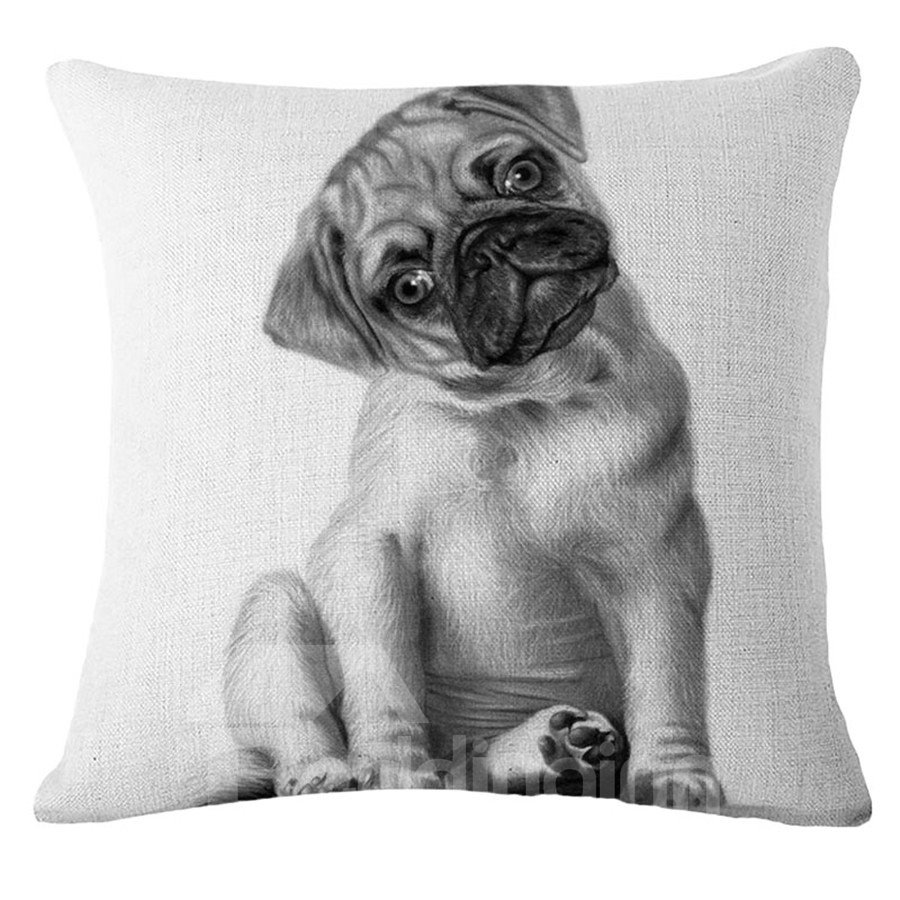 Lovely Sketch Puppy Design Square Throw Pillow