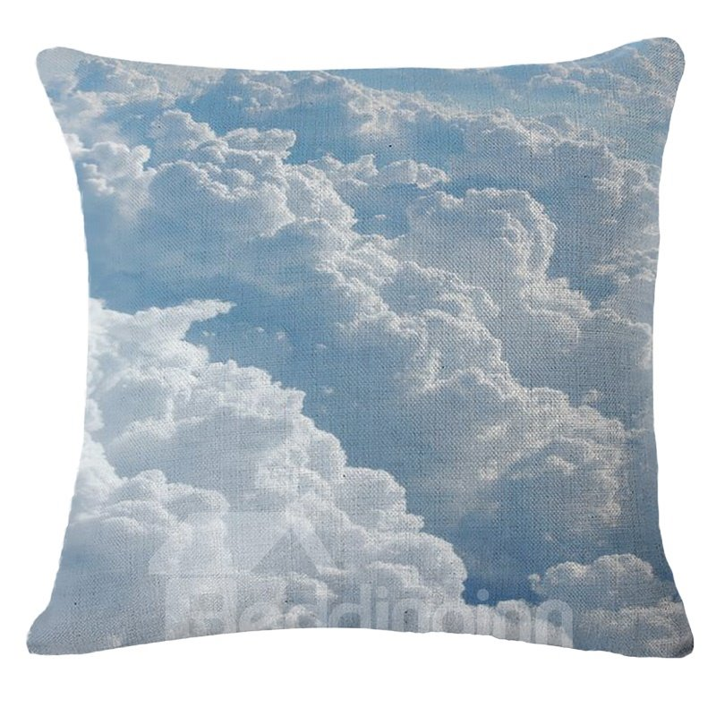 Beautiful Azure Blue Sky and White Cloud Print Throw Pillow