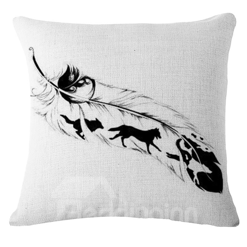 Stunning Feather Print PP Cotton Square Throw Pillow