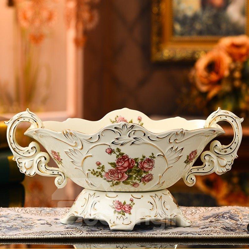White Ceramic Elegant Flowers Pattern Desktop Fruit Compote Painted Pottery