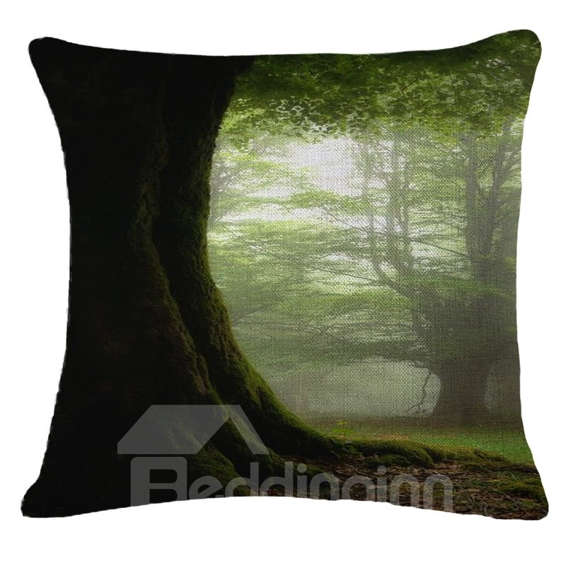 Fresh Green Beautiful Scenery Print Square Throw Pillow