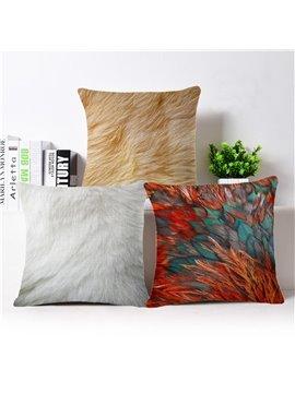 Unique Feather Print PP Cotton Square Throw Pillow