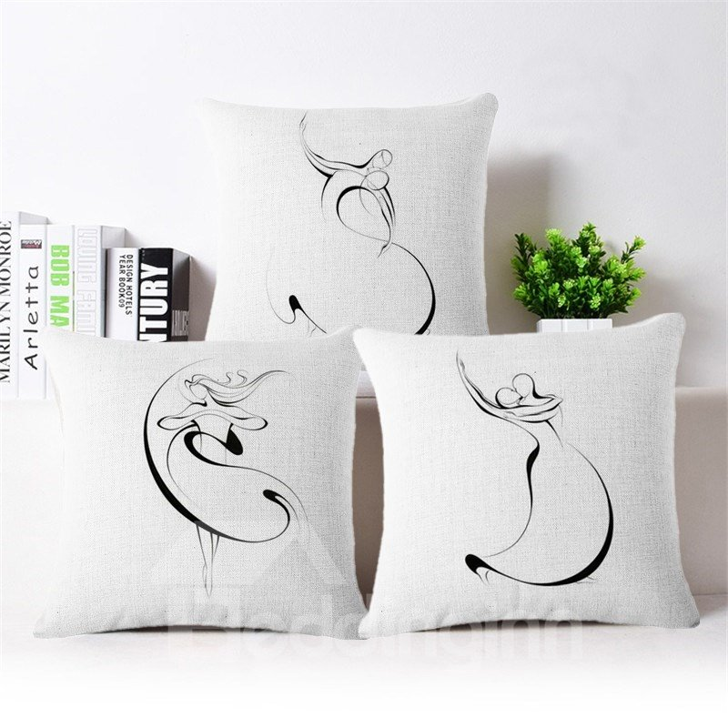 Concise Design Dancers Print Square Throw Pillow