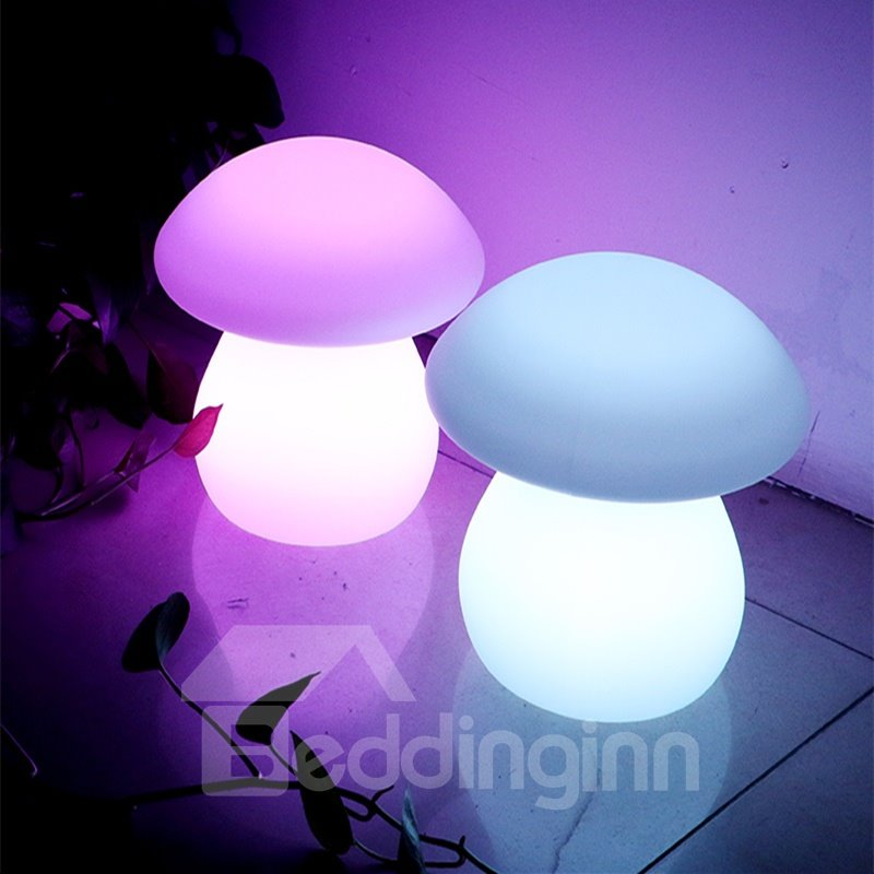 Cute Polyethylene Mushroom Shape Remote Control Design Desktop LED Night Lights
