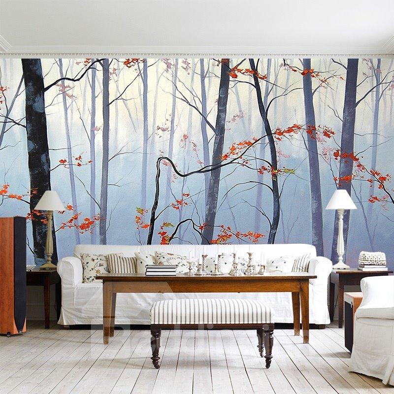 Blurry Autumn Forest Scenery Pattern Waterproof Decorative Wall Murals