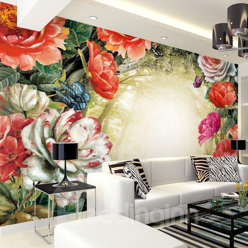 Gorgeous Modern Style Flowers Pattern Waterproof Splicing 3D Wall Murals