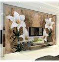 Fresh Modern Design Lily Flowers Pattern Waterproof Splicing 3D Wall Murals