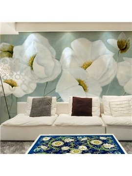 White Elegant Flowers Pattern Living Room Decoration Waterproof 3D Wall Murals