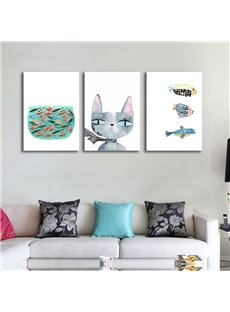 Modern Simple Style Cat and Fish Pattern Hand-Paint Design Framed Wall Art Prints