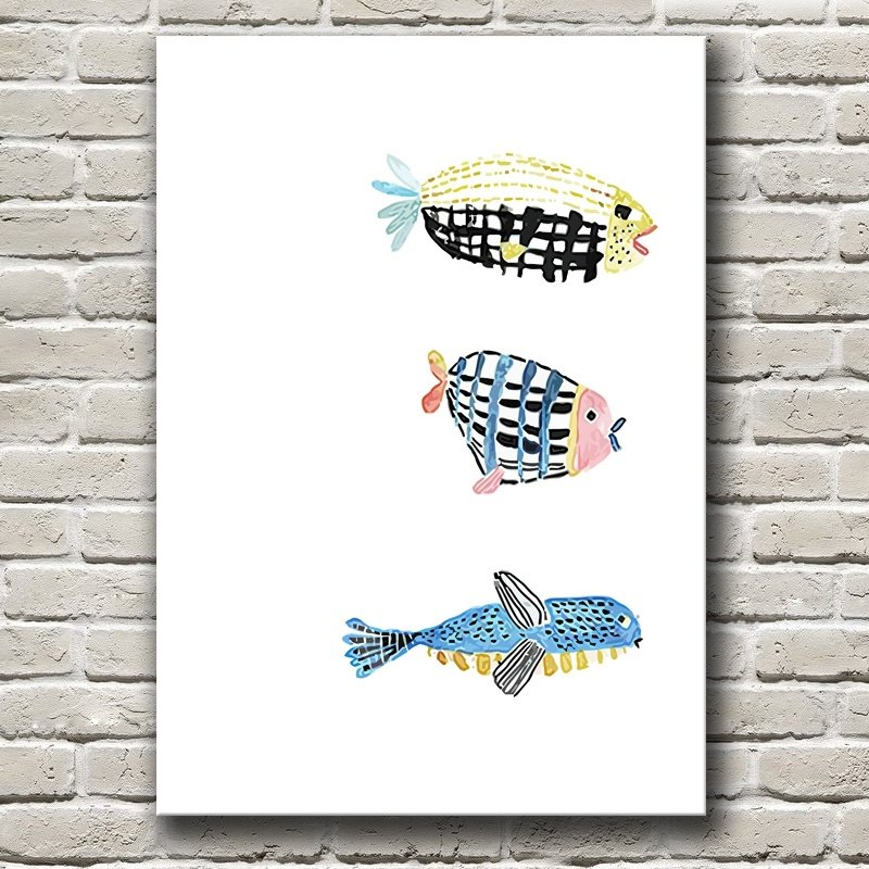 Modern Simple Style Cat and Fish Pattern Design Framed Wall Art Prints