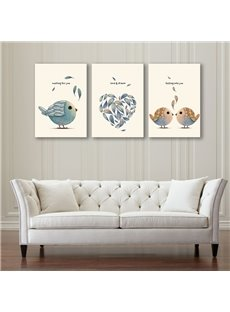 Simple Style Birds with Heart Pattern Design 3 Pieces Framed Wall Art Prints