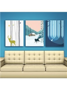 European and Nordic Style Deer in Forest Winter Scenery 3 Panels Framed Wall Art Prints