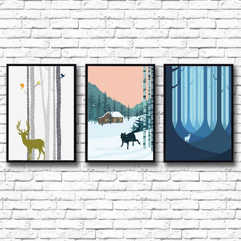 European Style Deer in Forest Winter Scenery 3 Panels Framed Wall Art Prints