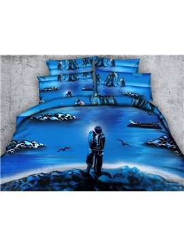 Fancy 3D Romantic Lovers Print Blue 4-Piece Duvet Cover Sets