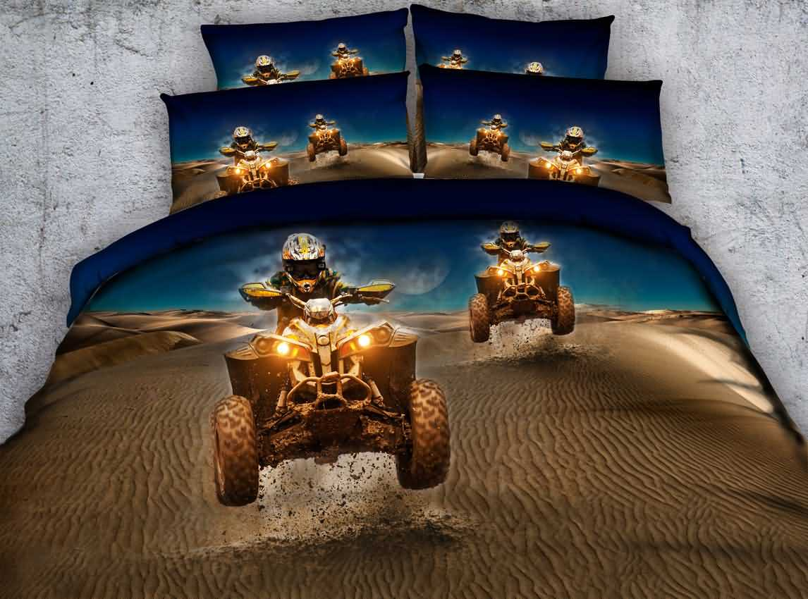 Cool Car Racing in the Desert Print 5-Piece Comforter Sets