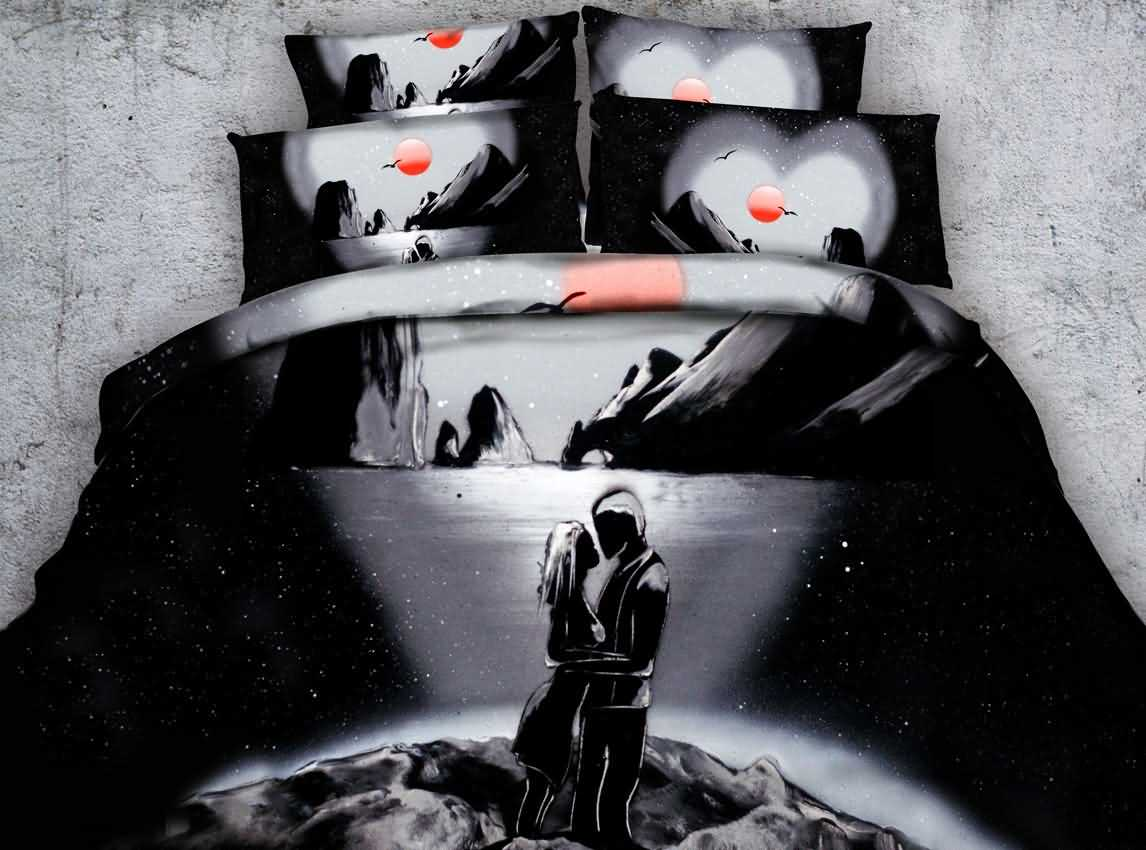 Romantic Lovers Print Black 5-Piece Comforter Sets