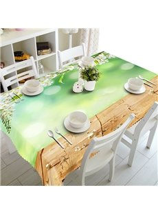 Fresh Simple Style White Flowers Prints Polyester Fibre Washable 3D Tablecloth