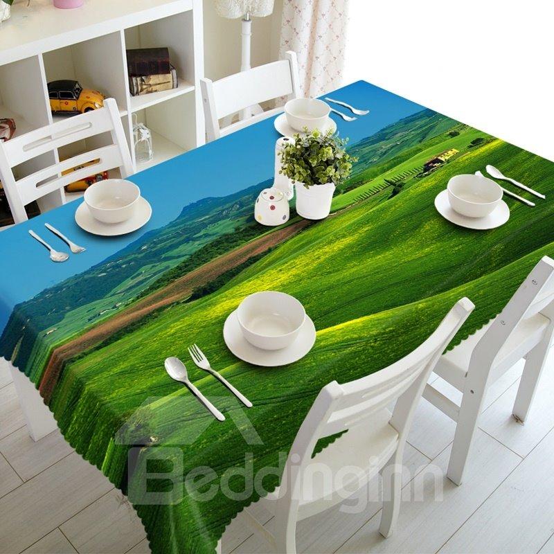 Creative Design Broad Grassland Prints Washable Polyester Fibre 3D Tablecloth