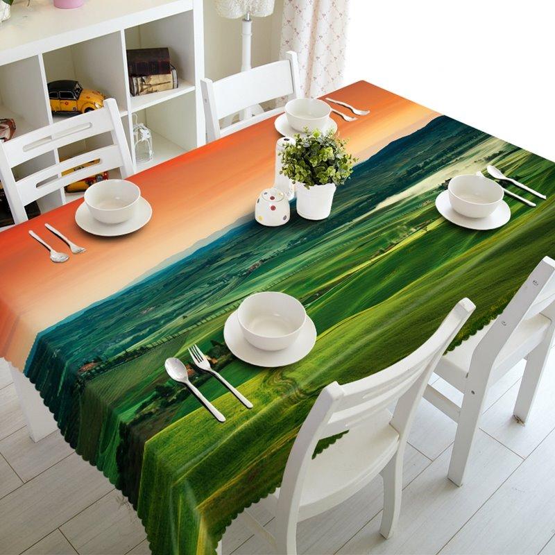 Fancy Green Natural Grassland Prints Dining Room Decoration 3D Tablecloth