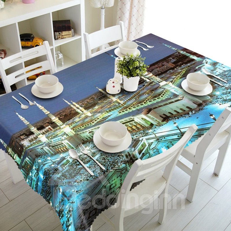 Stunning Modern Style Building Scenery Prints Dining Room Decoration 3D Tablecloth