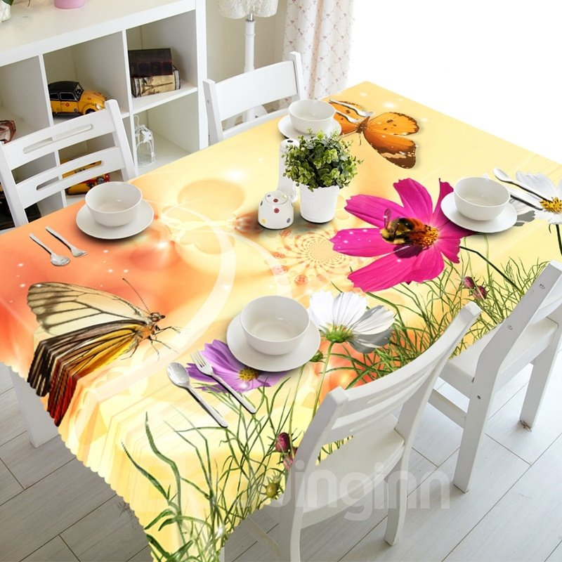 Fresh Butterflies and Flowers Prints Washable Dining Room Decoration 3D Tablecloth