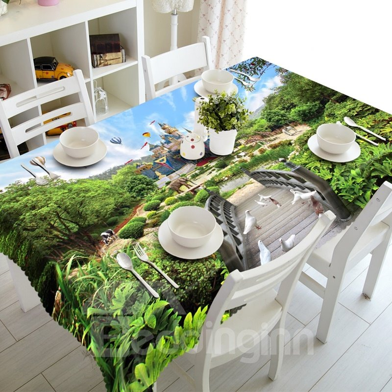 Alive Green Zoo Scenery Pattern Design Washable Home Decoration 3D Tablecloth