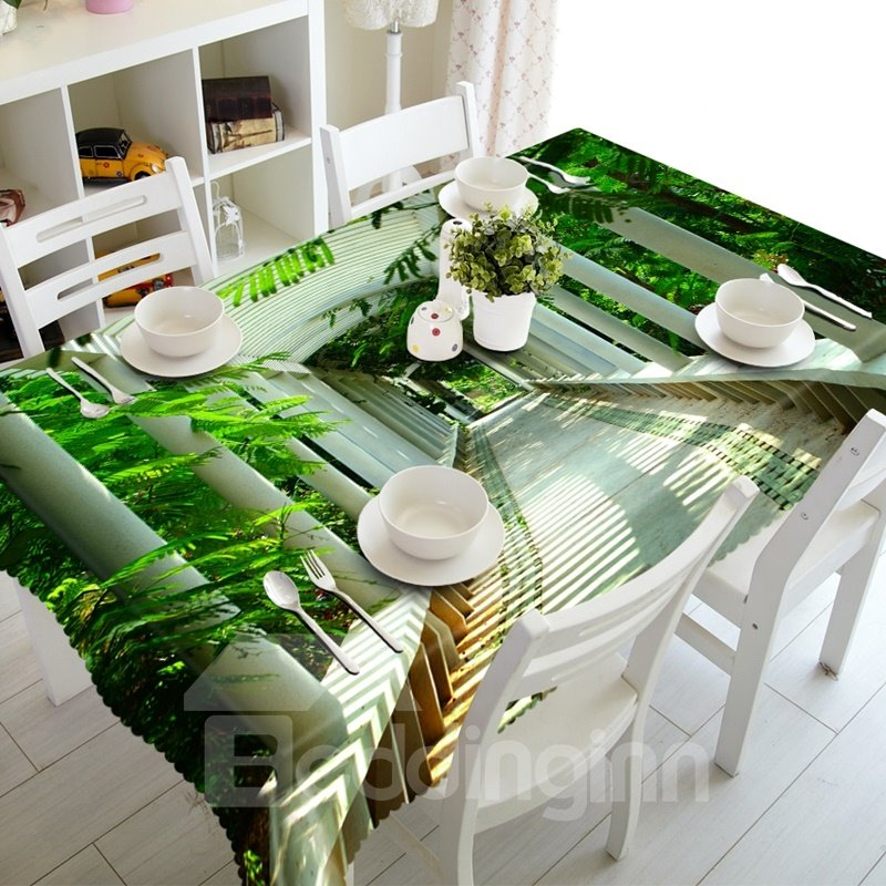 Leisurely Pavilion in the Park Prints Dining Room Decoration 3D Tablecloth