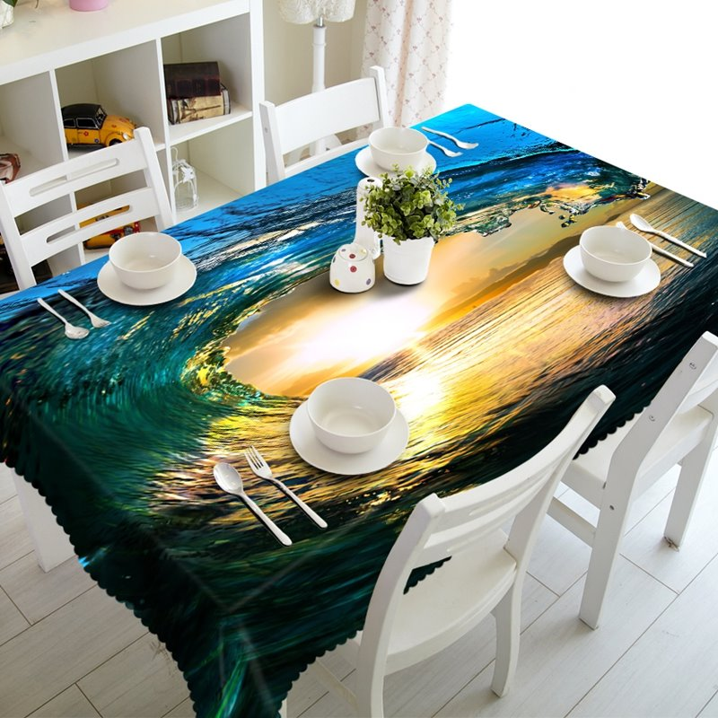 Creative Dynamic Water in the Sunset Prints Washable 3D Tablecloth