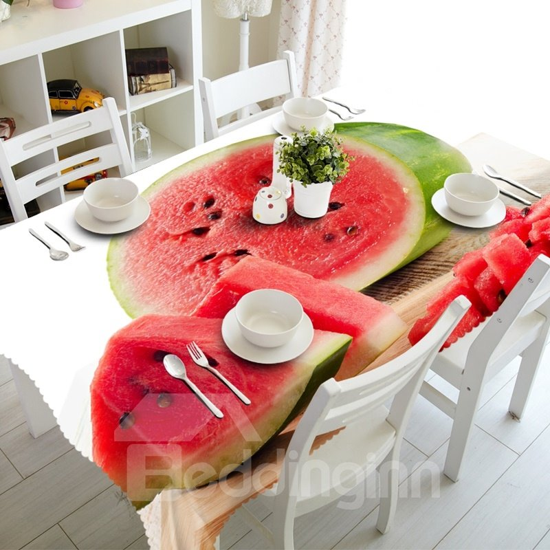 Delicious Fresh Watermelon Prints Design Washable 3D Tablecloth