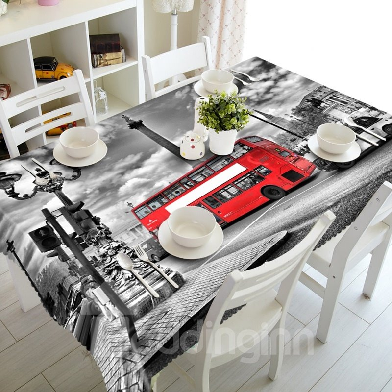 European Style Red Bus in the Street Prints Dining Room Decoration 3D Tablecloth