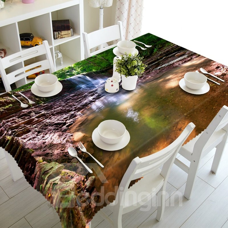 Stunning Design Waterfall in the Forest Prints Washable 3D Tablecloth