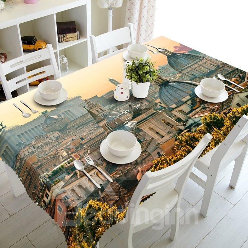 Amazing European Style City Buildings Prints Washable Polyester Fibre 3D Tablecloth