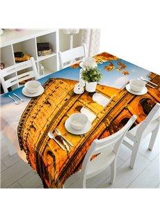 European Style Round Architecture Prints Polyester Fibre 3D Tablecloth