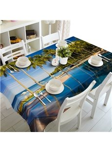 Leisurely Palm Trees by the Sea Prints Washable Polyester Fibre 3D Tablecloth