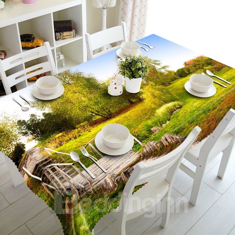 A Wooden Bridge in the Park Pattern Design Dining Room Decoration 3D Tablecloth