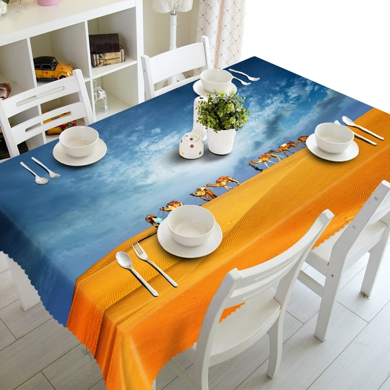 Several Camels Walking in the Desert Prints Dining Room Decoration 3D Tablecloth