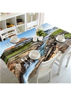 A Stream at the Foot of Mountain Prints Design Dining Room Decoration 3D Tablecloth