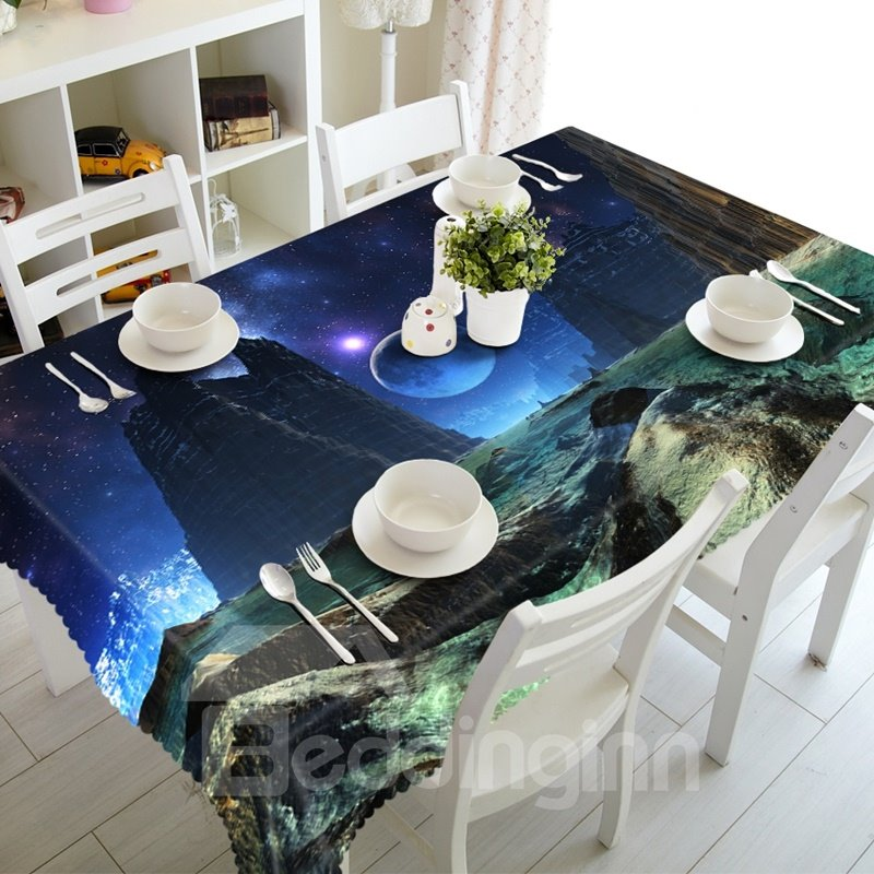 Dreamy Starry Sky and Mountain Scenery Prints Washable 3D Tablecloth