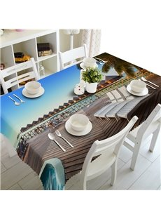 Natural Lounge By the Sea Prints Washable Polyester Fibre 3D Tablecloth
