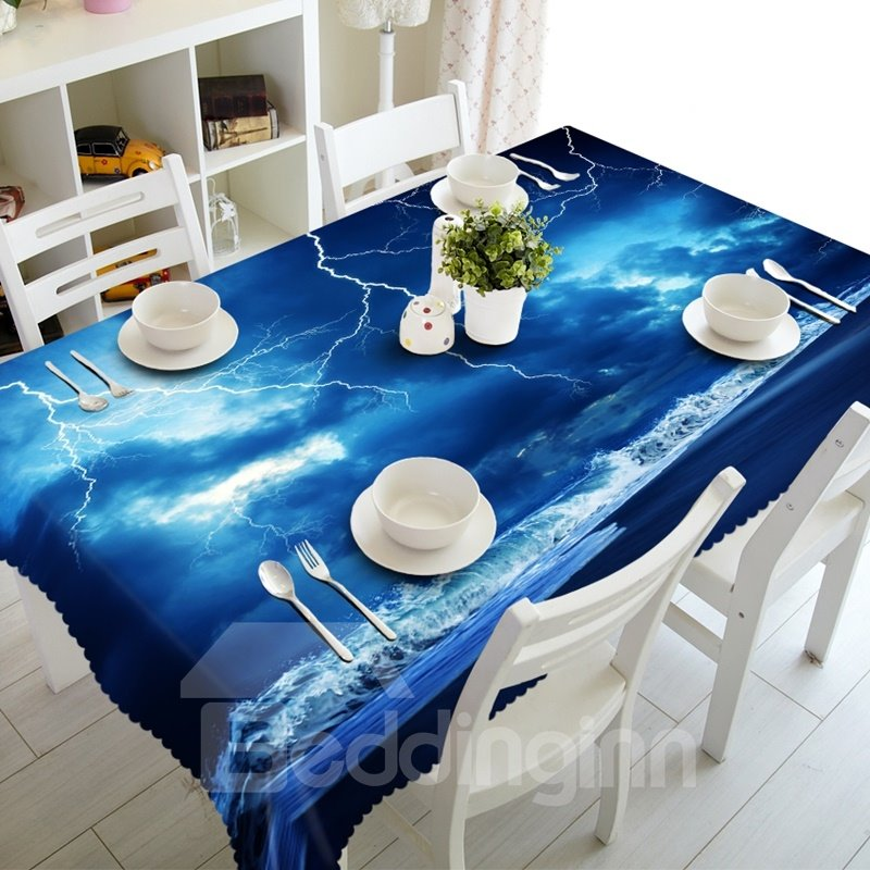 Blue Lighting in the Seaside Sky Prints Design Dining Room Decoration 3D Tablecloth