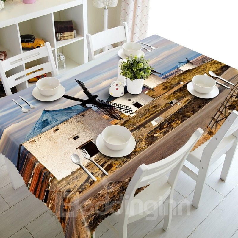 Creative Wind Power House Prints Design Polyester Fibre 3D Tablecloth