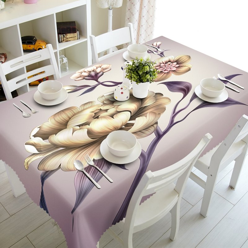 Vivid Polyester Modern Design Flowers Prints Home Decoration 3D Tablecloth