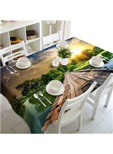 Unique Design Wooden Bridge over the River Prints 3D Tablecloth