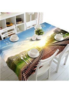 Sunshine Railway Scenery Pattern Design Washable 3D Tablecloth