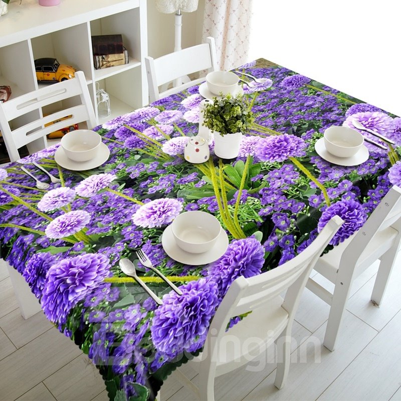 Gorgeous Modern Design Purple Flowers Prints Washable 3D Tablecloth