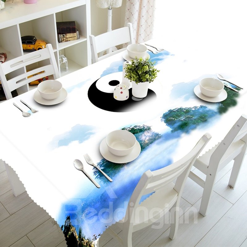 White Natural Scenery and Tai Chi Prints Design Dining Room Decoration 3D Tablecloth
