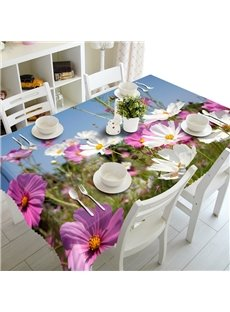 White and Pink Flowers Prints Design Dining Room Decoration 3D Tablecloth