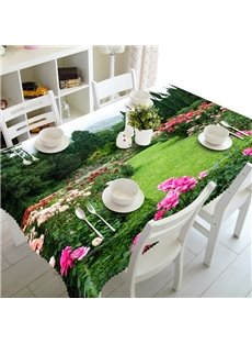 Leisurely Flowers Field Between the Tree Prints Decorative 3D Tablecloth