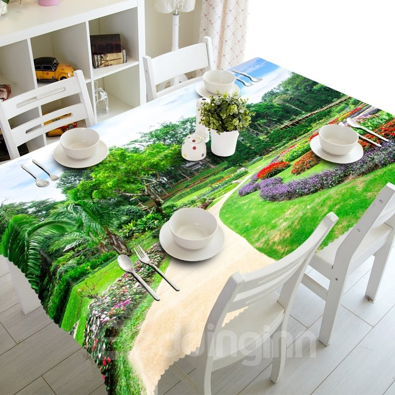 Natural Park Scenery Prints Design Washable Dining Room Decoration 3D Tablecloth