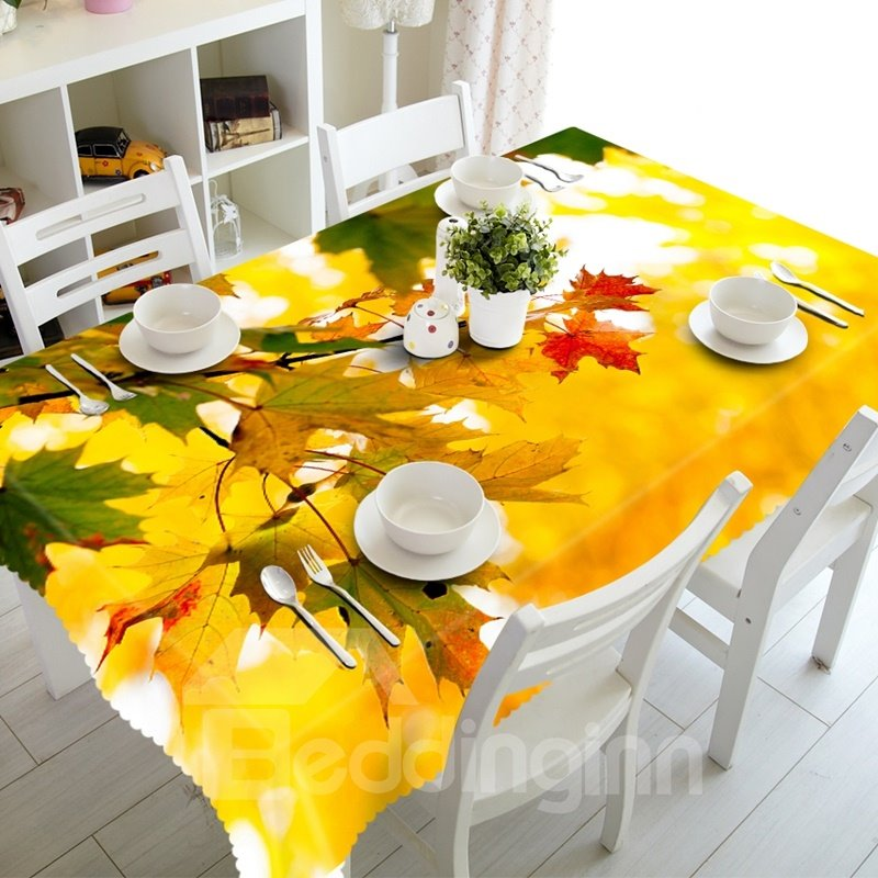 Autumn Maple Leaves Scenery Prints Washable 3D Tablecloth